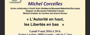 Lundi 9mai à Grenoble : Michel Corcelles